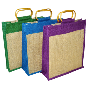 three jute shopping bags - green, blue and purple