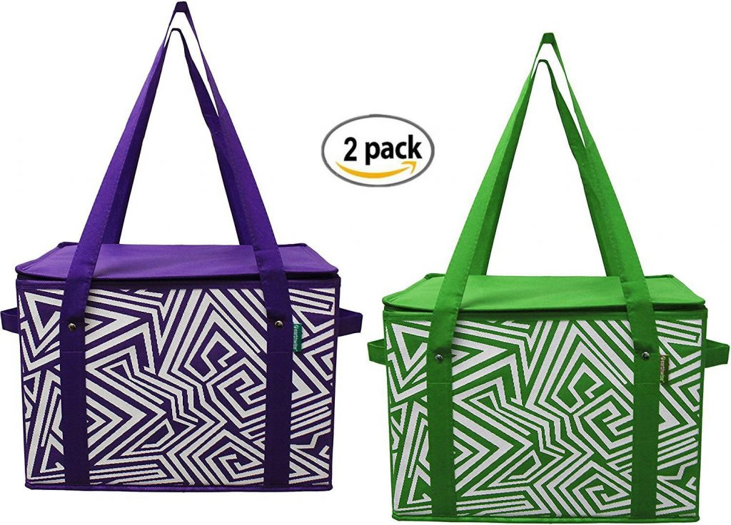 purple and green insulated grocery totes