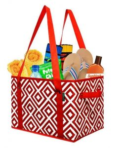 grocery shopping tote in red